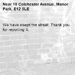 We have swept the street. Thank you for reporting it.-18 Colchester Avenue, Manor Park, E12 5LE