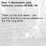 Thank you for your report, I can confirm that the fly tip was cleared on the 11th June 2019.