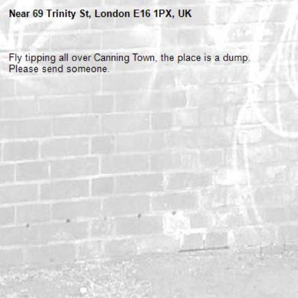 Fly tipping all over Canning Town, the place is a dump. Please send someone. -69 Trinity St, London E16 1PX, UK