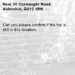 Can you please confirm if the fox is still in this location. -20 Connaught Road, Aldershot, GU12 4RN
