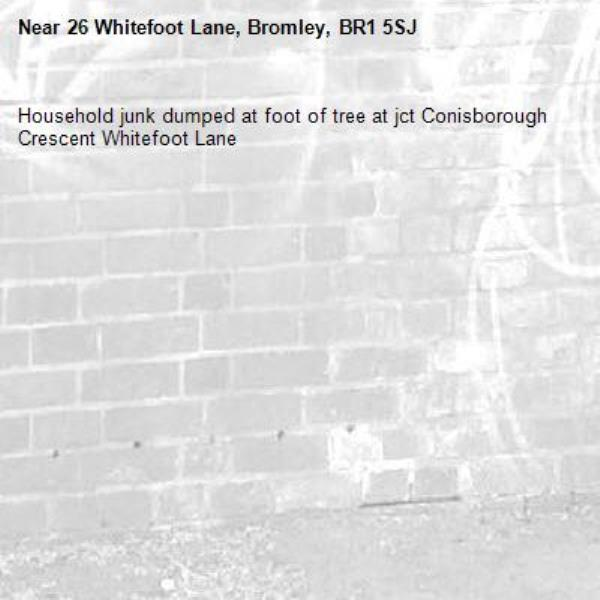 Household junk dumped at foot of tree at jct Conisborough Crescent Whitefoot Lane-26 Whitefoot Lane, Bromley, BR1 5SJ