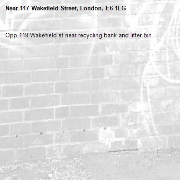 Opp 119 Wakefield st near recycling bank and litter bin-117 Wakefield Street, London, E6 1LG