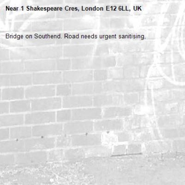 Bridge on Southend. Road needs urgent sanitising,-1 Shakespeare Cres, London E12 6LL, UK