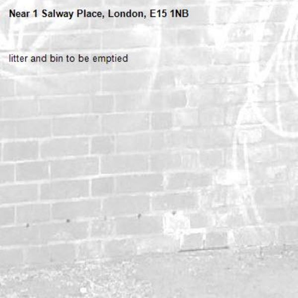 litter and bin to be emptied-1 Salway Place, London, E15 1NB