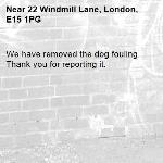 We have removed the dog fouling. Thank you for reporting it.-22 Windmill Lane, London, E15 1PG