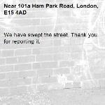 We have swept the street. Thank you for reporting it.-101a Ham Park Road, London, E15 4AD