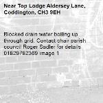 Blocked drain water boiling up through grid. Contact chair parish council Roger Sadler for details 01829782369 image 1-Top Lodge Aldersey Lane, Coddington, CH3 9EH