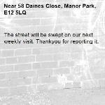 The street will be swept on our next weekly visit. Thankyou for reporting it.-58 Daines Close, Manor Park, E12 5LQ