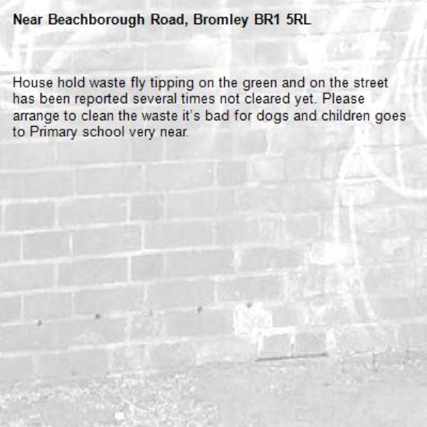 House hold waste fly tipping on the green and on the street  has been reported several times not cleared yet. Please arrange to clean the waste it's bad for dogs and children goes to Primary school very near.-Beachborough Road, Bromley BR1 5RL