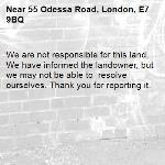 We are not responsible for this land. We have informed the landowner, but we may not be able to  resolve ourselves. Thank you for reporting it.-55 Odessa Road, London, E7 9BQ