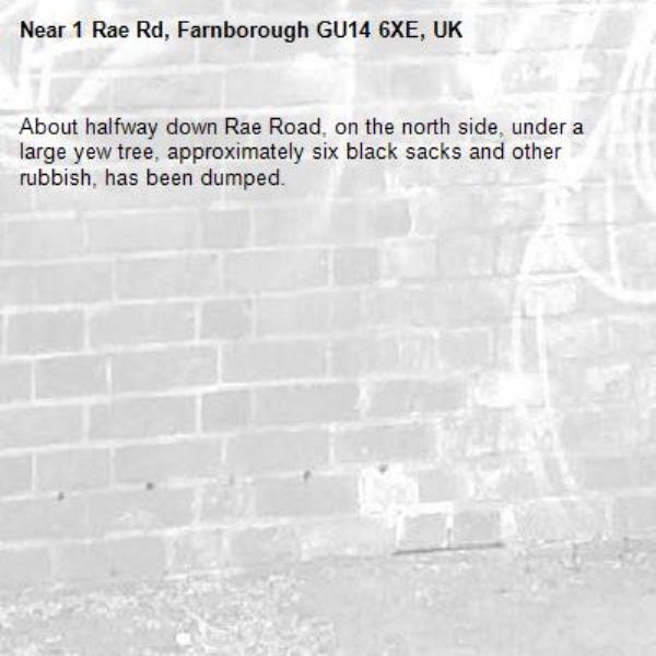 About halfway down Rae Road, on the north side, under a large yew tree, approximately six black sacks and other rubbish, has been dumped.-1 Rae Rd, Farnborough GU14 6XE, UK