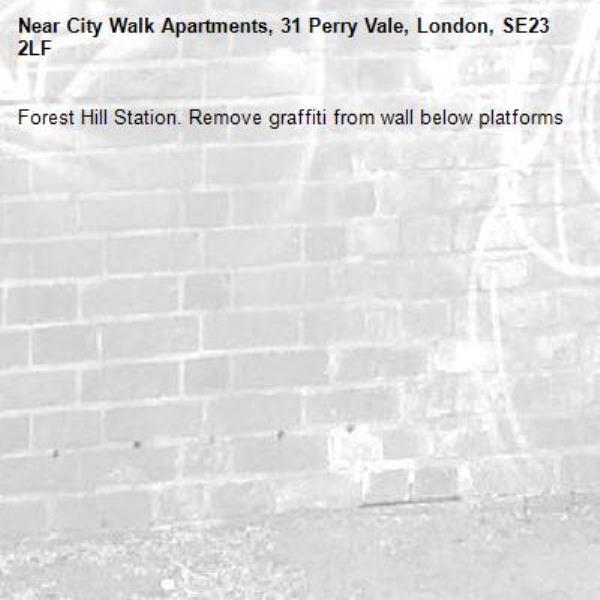 Forest Hill Station. Remove graffiti from wall below platforms-City Walk Apartments, 31 Perry Vale, London, SE23 2LF