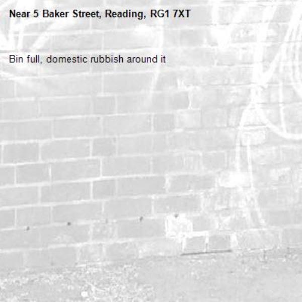 Bin full, domestic rubbish around it-5 Baker Street, Reading, RG1 7XT