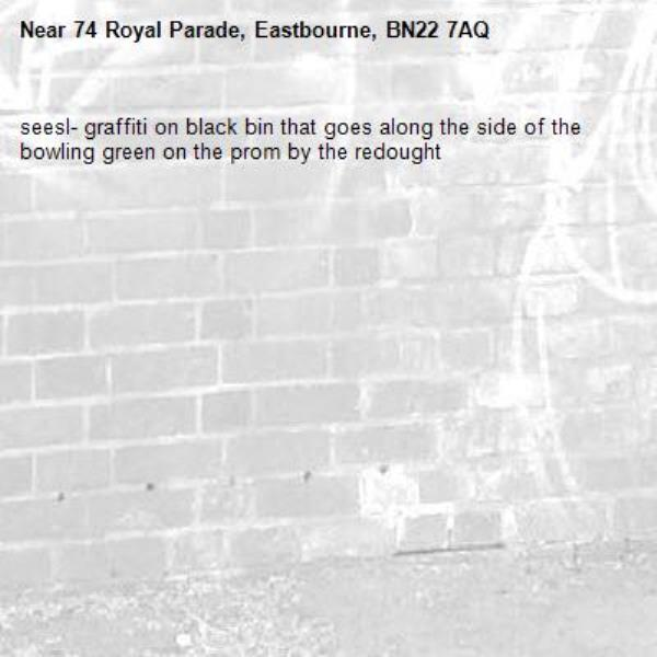 seesl- graffiti on black bin that goes along the side of the bowling green on the prom by the redought -74 Royal Parade, Eastbourne, BN22 7AQ