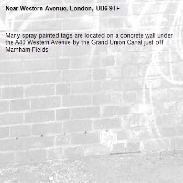 Many spray painted tags are located on a concrete wall under the A40 Western Avenue by the Grand Union Canal just off Marnham Fields -Western Avenue, London, UB6 9TF
