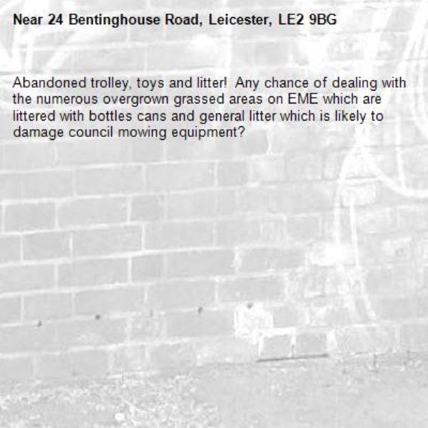 Abandoned trolley, toys and litter!  Any chance of dealing with the numerous overgrown grassed areas on EME which are littered with bottles cans and general litter which is likely to damage council mowing equipment?-24 Bentinghouse Road, Leicester, LE2 9BG