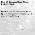 Unfortunately we cannot find the fly-tip that you reported – Please report it again if it is still there-64 Salisbury Road, Manor Park, E12 6AB