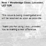 This issue is being investigated and will be resolved as soon as possible.   Thank you for using Love Leicester. You're making a real difference. -1 Westbridge Close, Leicester, LE3 5DR