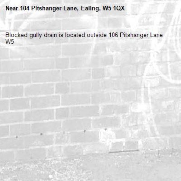Blocked gully drain is located outside 106 Pitshanger Lane W5 -104 Pitshanger Lane, Ealing, W5 1QX