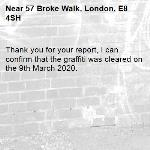 Thank you for your report, I can confirm that the graffiti was cleared on the 9th March 2020.  -57 Broke Walk, London, E8 4SH