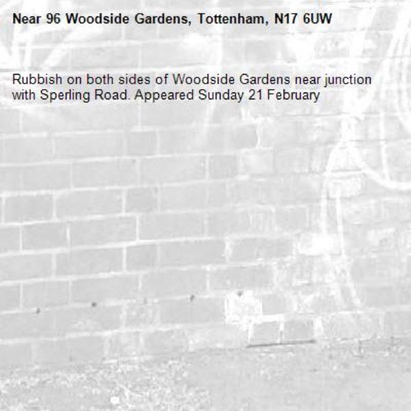 Rubbish on both sides of Woodside Gardens near junction with Sperling Road. Appeared Sunday 21 February-96 Woodside Gardens, Tottenham, N17 6UW
