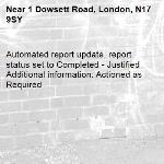 Automated report update, report status set to Completed - Justified Additional information: Actioned as Required -1 Dowsett Road, London, N17 9SY