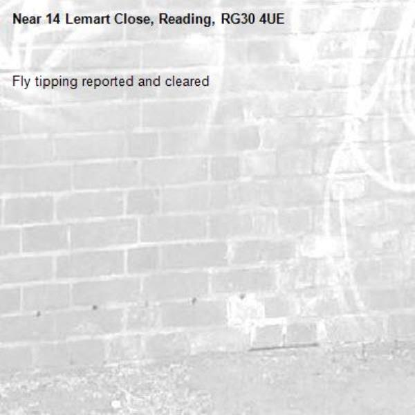 Fly tipping reported and cleared -14 Lemart Close, Reading, RG30 4UE
