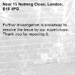 Further investigation is underway to resolve the issue by our supervisors. Thank you for reporting it.-15 Nutmeg Close, London, E16 4PG