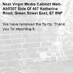 We have removed the fly-tip. Thank you for reporting it.-Virgin Media Cabinet Walt-Ah0307 Side Of 467 Katherine Road, Green Street East, E7 8NP
