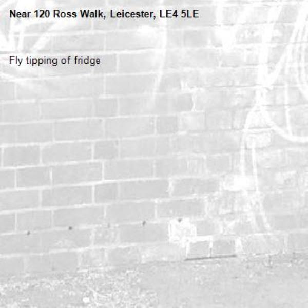 Fly tipping of fridge-120 Ross Walk, Leicester, LE4 5LE