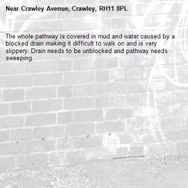 The whole pathway is covered in mud and water caused by a blocked drain making it difficult to walk on and is very slippery. Drain needs to be unblocked and pathway needs sweeping.-Crawley Avenue, Crawley, RH11 8PL