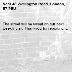 The street will be swept on our next weekly visit. Thankyou for reporting it.-48 Wellington Road, London, E7 9BU