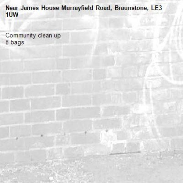 Community clean up  8 bags -James House Murrayfield Road, Braunstone, LE3 1UW