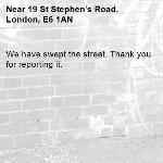 We have swept the street. Thank you for reporting it.-19 St Stephen's Road, London, E6 1AN