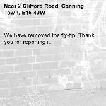 We have removed the fly-tip. Thank you for reporting it.-2 Clifford Road, Canning Town, E16 4JW