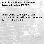 Thank you for your report, I can confirm that the graffiti was cleared on the 10th March 2020.-Signal House, 5 Martello Terrace, London, E8 3PE