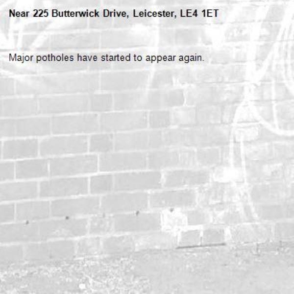 Major potholes have started to appear again. -225 Butterwick Drive, Leicester, LE4 1ET