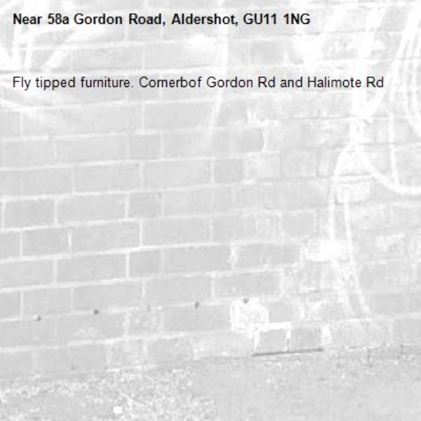 Fly tipped furniture. Cornerbof Gordon Rd and Halimote Rd-58a Gordon Road, Aldershot, GU11 1NG