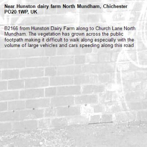 B2166 from Hunston Dairy Farm along to Church Lane North Mundham. The vegetation has grown across the public footpath making it difficult to walk along especially with the volume of large vehicles and cars speeding along this road-Hunston dairy farm North Mundham, Chichester PO20 1WP, UK