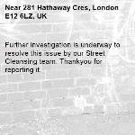 Further investigation is underway to resolve this issue by our Street Cleansing team. Thankyou for reporting it.-281 Hathaway Cres, London E12 6LZ, UK