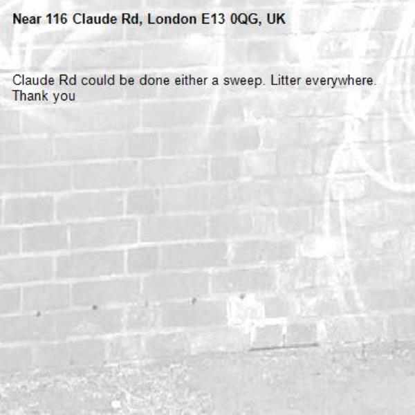 Claude Rd could be done either a sweep. Litter everywhere. Thank you -116 Claude Rd, London E13 0QG, UK