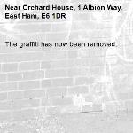 The graffiti has now been removed.-Orchard House, 1 Albion Way, East Ham, E6 1DR