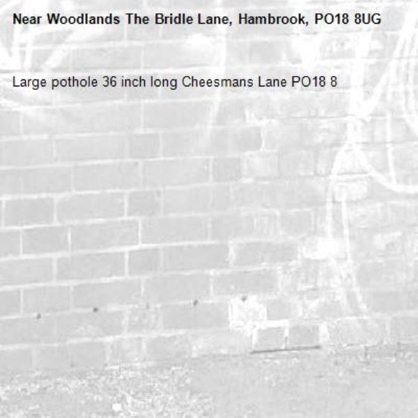 Large pothole 36 inch long Cheesmans Lane PO18 8-Woodlands The Bridle Lane, Hambrook, PO18 8UG