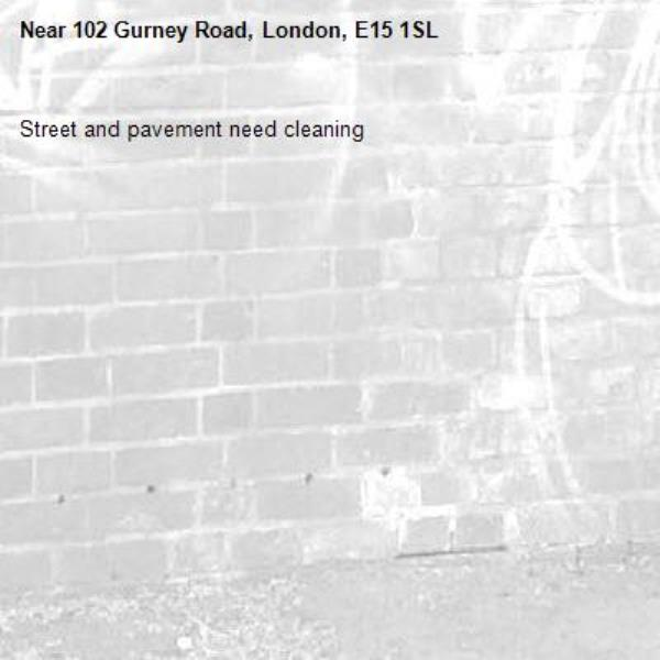 Street and pavement need cleaning -102 Gurney Road, London, E15 1SL