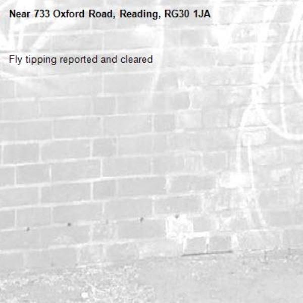 Fly tipping reported and cleared -733 Oxford Road, Reading, RG30 1JA