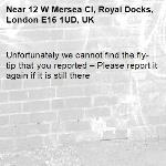 Unfortunately we cannot find the fly-tip that you reported – Please report it again if it is still there-12 W Mersea Cl, Royal Docks, London E16 1UD, UK