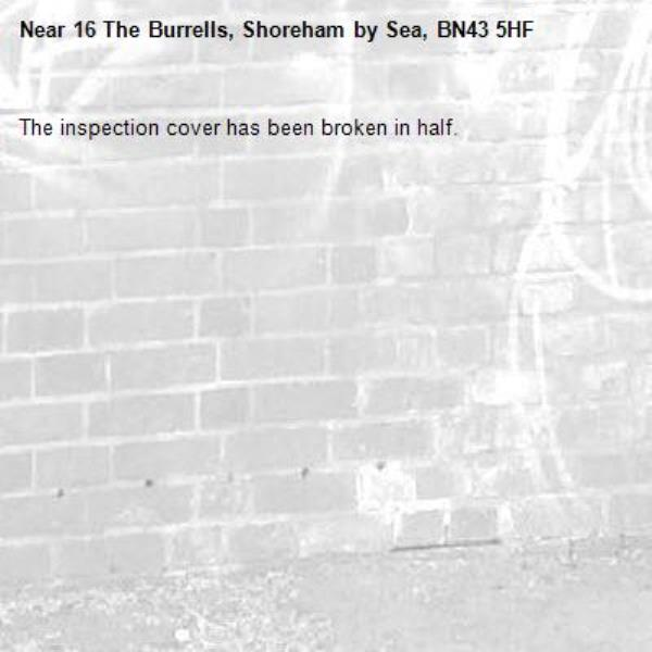 The inspection cover has been broken in half.-16 The Burrells, Shoreham by Sea, BN43 5HF