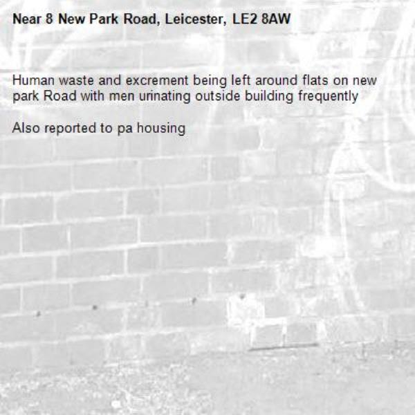 Human waste and excrement being left around flats on new park Road with men urinating outside building frequently  Also reported to pa housing-8 New Park Road, Leicester, LE2 8AW