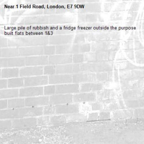 Large pile of rubbish and a fridge freezer outside the purpose built flats between 1&3-1 Field Road, London, E7 9DW