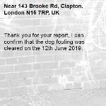 Thank you for your report, I can confirm that the dog fouling was cleared on the 12th June 2019.  -143 Brooke Rd, Clapton, London N16 7RP, UK